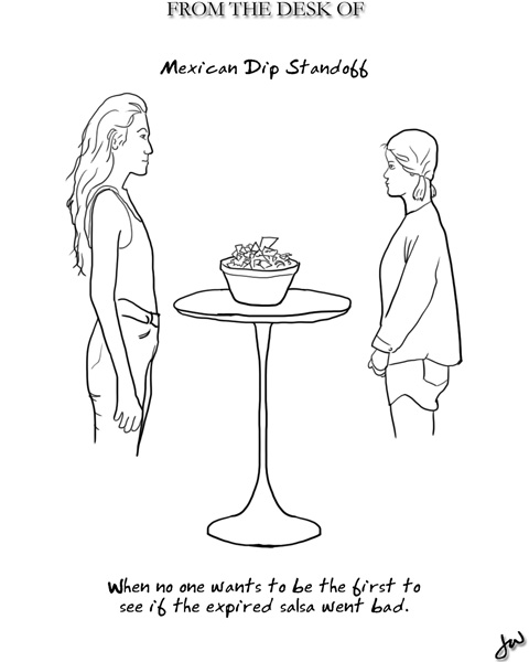 two women standing on either side of a bowl of salsa, looking at each other but not eating