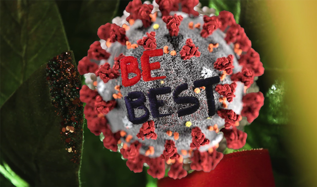 "Coronavirus -19 shaped Christmas ornament that says ""Be Best"""