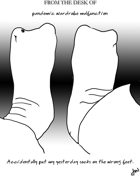 poorly drawn cartoon showing two scretched-out socks with big toe space on either end