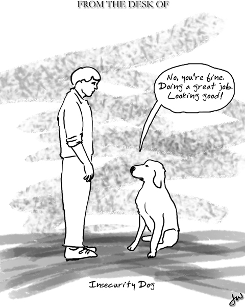 dog telling a man that he's doing alright